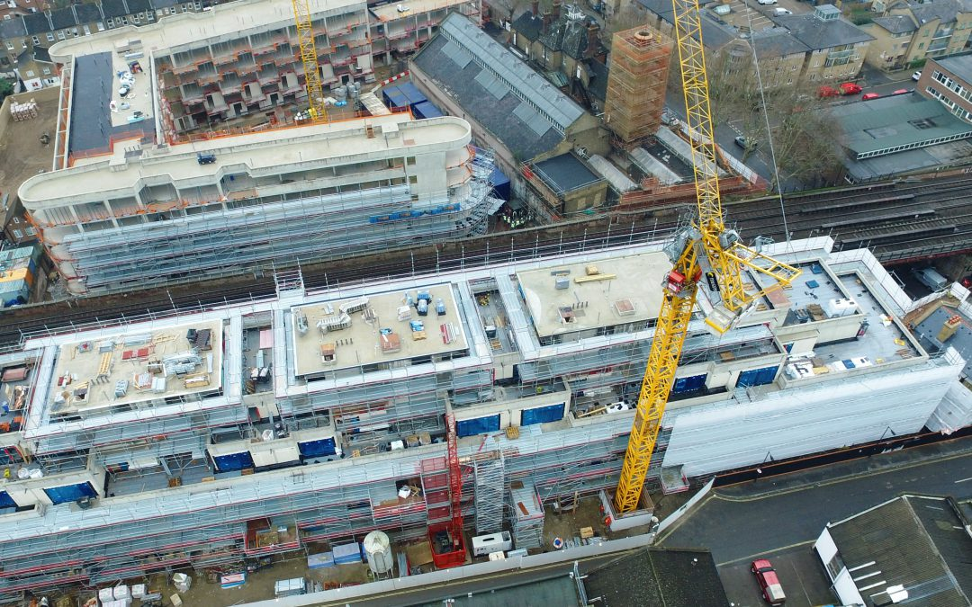 Layher scaffolding helps new London residential construction run smoothly next to mainline rail